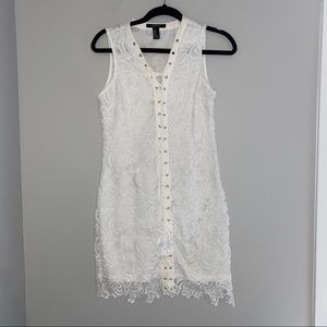 White lace lace up mini dress
